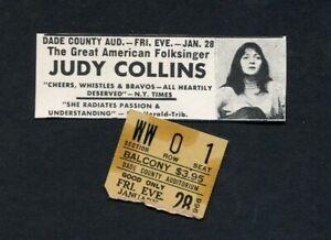 1966-Judy-Collins-Concert-Ticket-Stub-Miami-Dade-County-Auditorium-Folk-Music