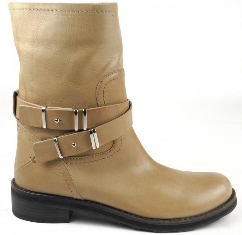 New femmes Costume National Leather Beige Tan Buckle Strap Ankle bottes Flat 7.5