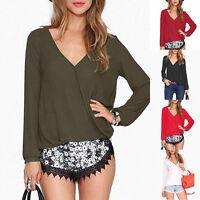 2017 New Womens V-NECK Chiffon Long Sleeve Shirt Casual Blouse Loose Tops S-XL