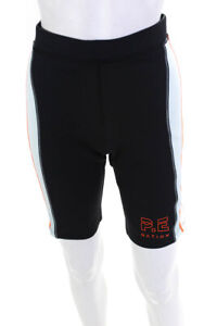PE Nation Womens Striped Camber Biker Shorts Black Green White Size Large