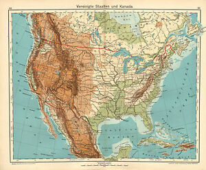 Details about 1908 MAP ~ NORTH AMERICA PHYSICAL ~ UNITED STATES & CANADA  BRITISH COLUMBIA