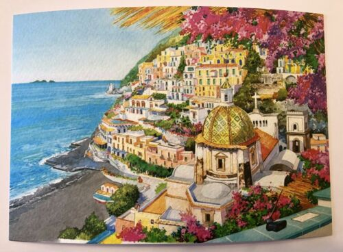 PostCard Of Italy-4,1//2x6,3//4inch Positano printed On Pounded Paper.-MadeInItaly