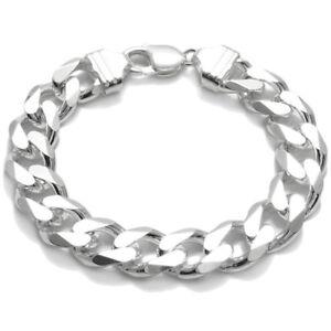 925-Sterling-Silver-Men-039-s-Solid-Cuban-Curb-Link-Chain-Bracelet-13mm-350-Gauge