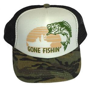 cd0065ddd67 Kid s Gone Fishing Camo Camouflage Snapback Mesh Trucker Hat Cap ...