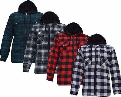 Mens Threadbare Long Sleeve Plaid Tartan Check Hooded Lumberjack Shirt Cotton