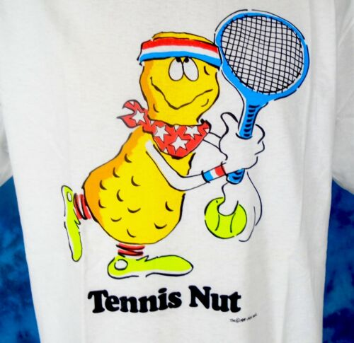 NOS vintage 80s TENNIS NUT CARTOON T-Shirt LARGE jack wohl joke thin