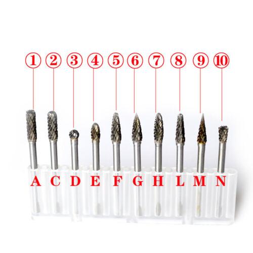 "10pcs Tungsten Steel Carbide Rotary Cutting Burr Bits Set 3mm 1//8/"" Shank A9U8"