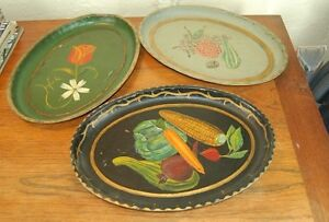 VINTAGE-American-Handpainted-Oval-Toleware-Metal-Trays-Colonial-Style-Lot-of-3
