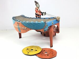 Vintage Wolverine Zilotone #48 Wind-up Xylophone Record Player *Works* 2 Discs