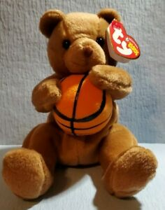 """Retired Ty Beanie Baby """"Hoops The Basketball Bear"""" New with Tags DOB 3/6 NMCNMT"""