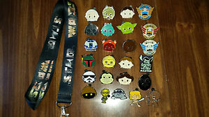 Disney-Trading-Pin-Lot-Set-Star-Wars-Lanyard-25-Star-Wars-pins-Tsum-Cuties