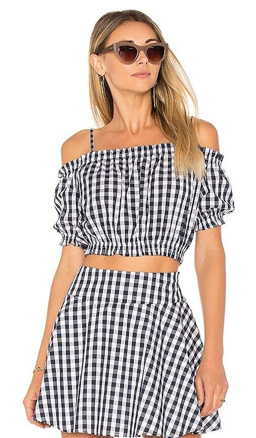 NWT Revolve L'Academie Blau Gingham Checked Crop Top & Skirt Set XS S