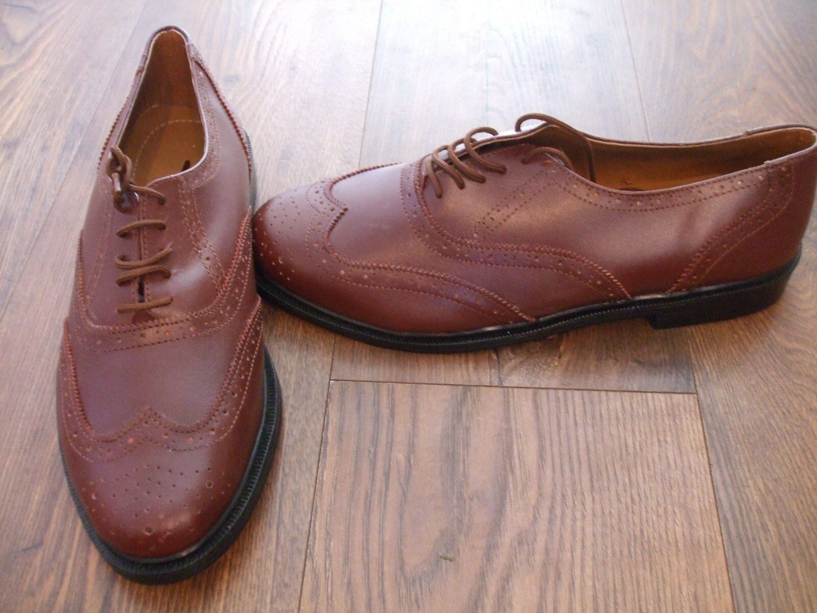 H BNWOB Mens Brown Real Leather Size 11 Brogues shoes Clifford James