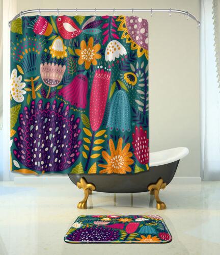 """72//79/""""Bath Fabric Shower Curtain-Abstract Plant Flower Bird-Mat Rug /& 12Hook 068"""