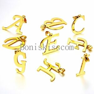 A-Z-Initial-Letter-Alphabet-Pendant-Charm-Necklace-Gold-Tone-Stainless-Steel