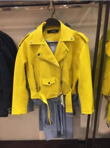 BNWT-ZARA-Faux-Leather-Biker-Jacket-Lime-Size-XS-S-M-L-3046-033