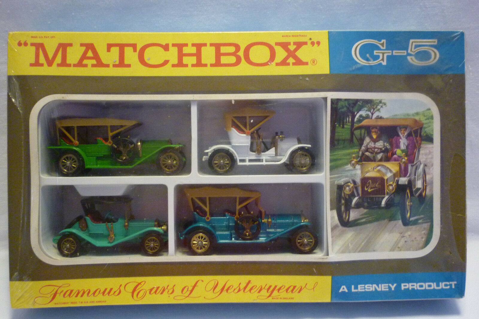 MATCHBOX - GIFTSET - UNGEÖFFNET    FAMOUS CARS OF YESTERYEAR  G-5 OVP (1.MB-1)