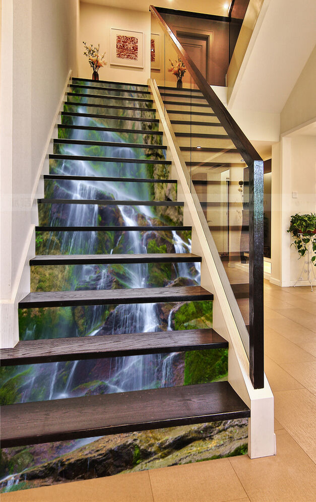 3D Rivulet Adorn Stair Risers Decoration Photo Mural Vinyl Decal Wallpaper CA