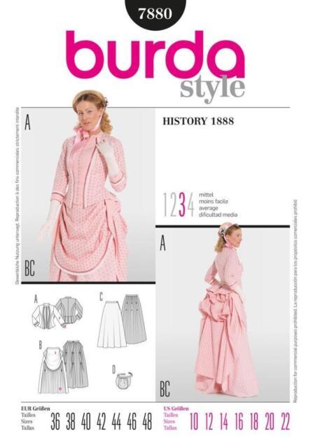 Historical 1888 Victorian Bustle Skirt Dress Costume Pattern Burda ...