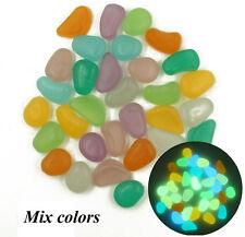 10Pcs Mix Color Glow In The Dark Pebbles Stone Garden Walkway Aquarium Fish Tank