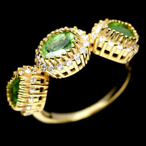 TOP-COLOR-TSAVORITE-RING-Natuerliche-Gruen-Tsavolith-Granat-Ring-Gr-18-1-R307