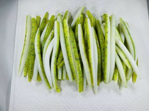 """50 Count 5"""" inch Chartreuse Senko Style Soft Plastic Bass Fishing Bait Worm"""