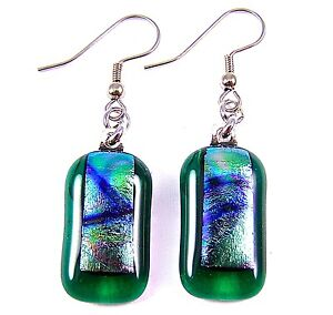 """Dichroic Glass Earrings Green Rainbow Tie Dye Striped Dangle Surgical Wire 1"""""""