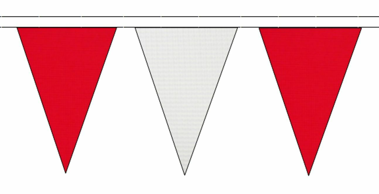 rot & Weiß Triangular Flag Bunting Bunting Bunting - 50m with 120 Flags 437598