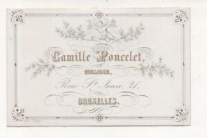 Carte De Visite Lithographie XIX Camille Poncelet Horloger