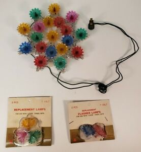 Details About Vintage Christmas Tree Topper Top Star Snowflake 19 Lights Tinsel Plaque