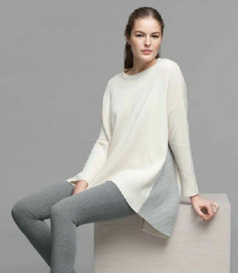 Eileen Fisher Lofty Cashmere Sweater, Soft White Dk Pearl, XXS S, NWT Oversized