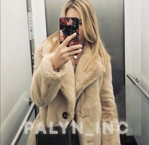 5402e4ef Faux Pink xs Collar M S Fur Xl L Zara Aw18 Lapel Coat Nude Nwt With ...