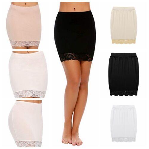 Women/'s Waist Half Slip Short Underskirt Lace Hem Lingerie Bodycon Pencil Skirts