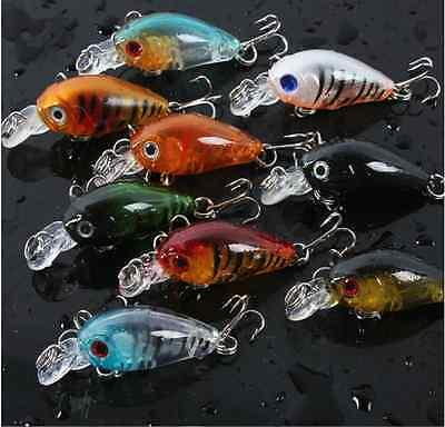 9x Fishing Lures Mini Minnow Fish Baits Bass Tackle Hooks Crankbait 4.5cm 4g