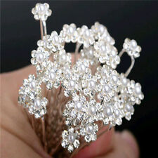 40pcs Wedding Bridal Crystal Bling Pearl Flower Hair Pins Clips Bridesmaid Prom