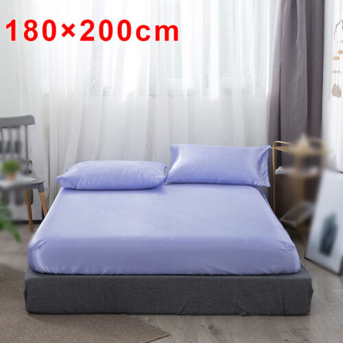 Fitted Bed Sheet Mattress Protection Bedding Cover Silk-Like Glossy Slipcover