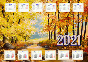 calendrier 2021 peinture paysage automne affiche plastifiée 30 x