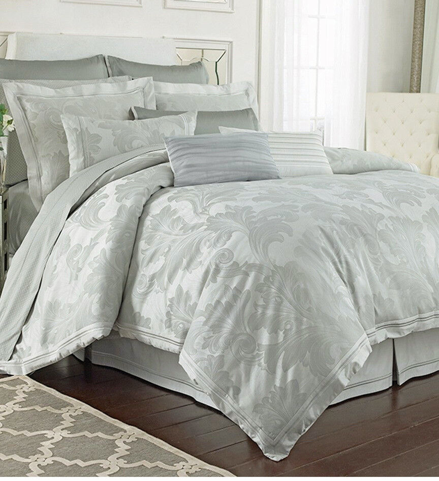 Charisma Sydney Jade Tonal Cotton Damask Weave Serene Queen Duvet Cover NWT