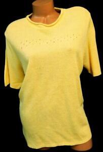 Bobbie-brooks-yellow-plus-size-crew-neck-short-sleeve-sweater-top-18W-20W