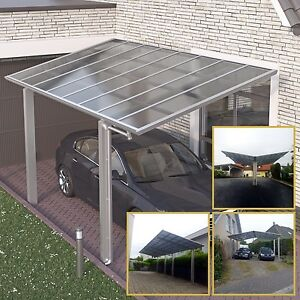 doppelcarport satteldach aluminium carport bausatz anlehncarport edelstahl look ebay. Black Bedroom Furniture Sets. Home Design Ideas