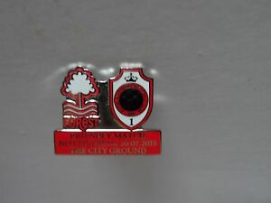 FOOTBALL BADGE NOTTINGHAM FOREST FRIENDLY MATCH RED  LETTERS PRESS PIN FITTING - Scarborough, North Yorkshire, United Kingdom - FOOTBALL BADGE NOTTINGHAM FOREST FRIENDLY MATCH RED  LETTERS PRESS PIN FITTING - Scarborough, North Yorkshire, United Kingdom