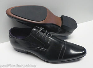 Chaussures-gris-fonce-pour-HOMME-taille-44-costume-mariage-soiree-NEUF-ELG-031