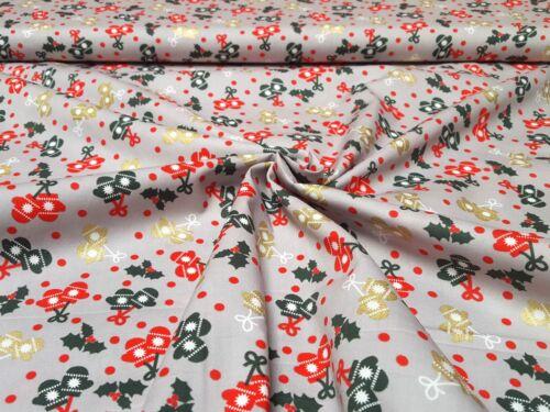 Tela decorativa algodón weihnachtsstoff METERWARE goldglitzer guante Navidad
