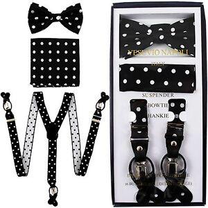 New in box Convertible Elastic Suspender_Bowtie & Hankie Black White Dots