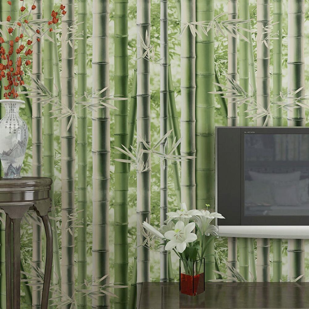 Wallpaper 3D Bamboo Green Natural Style Classical Non-woven Retro Rolls 10M PVC