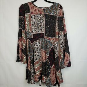 American-Eagle-Outfitters-Women-039-s-Dress-Paisley-Patch-Size-XS-Bell-Sleeve-Flare