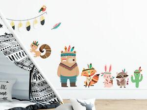 Wandtattoo Kinderzimmer Junge Indianer Waldtiere Aquarell Geschenk Geburtstag Ebay