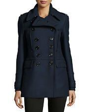 NEW $1295 Burberry London Women Milbridge Wool Military Trench Pea Coat, US 12