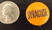 "VINTAGE 1940-1960s SYRACUSE UNIVERSITY PINBACK BUTTON PIN ORANGE FOOTBALL OLD 1"""