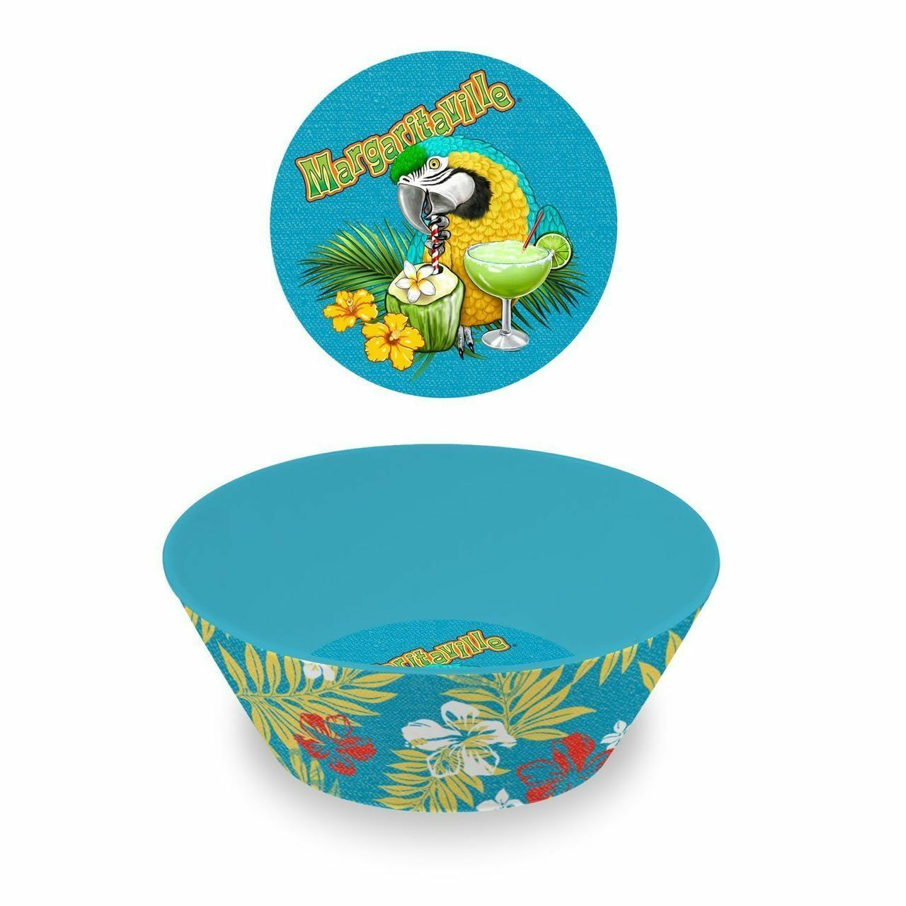 Margaritaville Livin 'para The Weekend Melamina Azul Hibiscus Palm Bowl Conjunto de 4